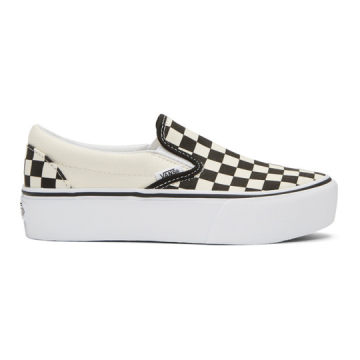 Off-White & Black Checkerboard Classic Slip-On Platform Sneakers