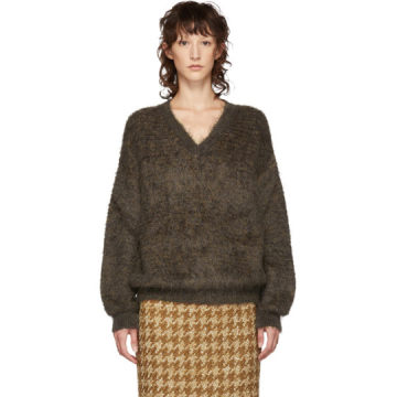 Brown Mohair V-Neck Sweater