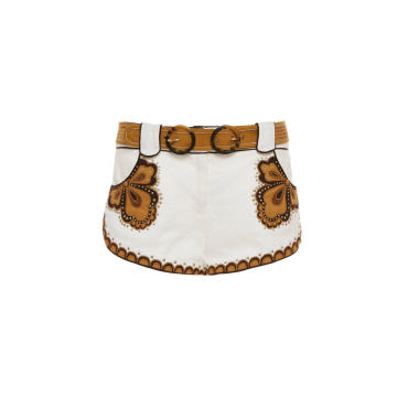 Zippy Applique Linen Mini Shorts