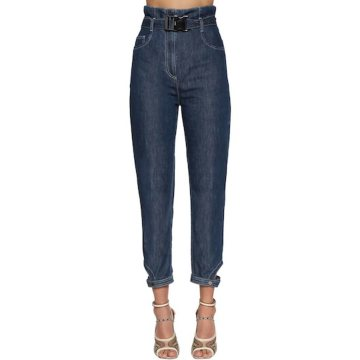 HIGH WAIST COTTON DENIM JEANS