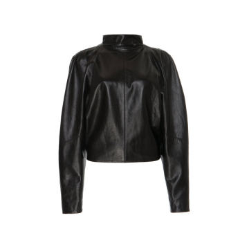 Caby Leather Mock Neck Blouse