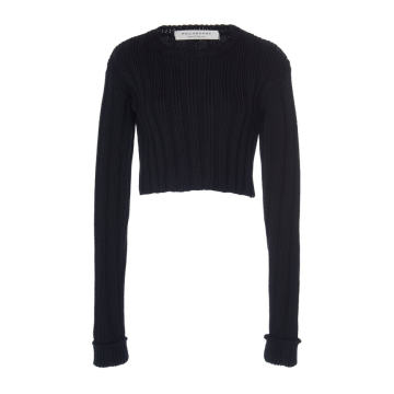 Cropped Rib Knit Sweater