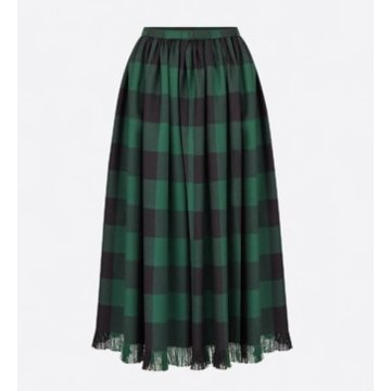 Fringed skirt in wool with check motif