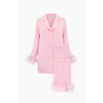 Pierrot Party Pajama Set in Pink