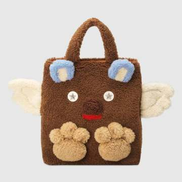 Children's faux fur bear tote