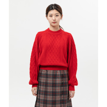 Red Cable Crop Knit