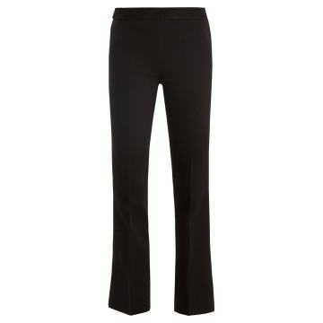 Mid-rise kick-flare crepe-cady trousers