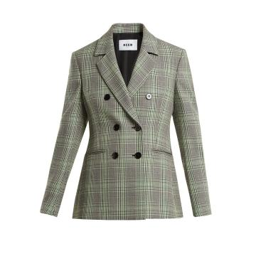 Checked double-breasted wool blazer