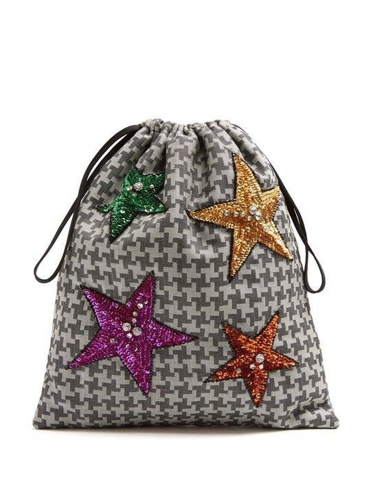 Sequin-embellished hound's-tooth drawstring pouch展示图