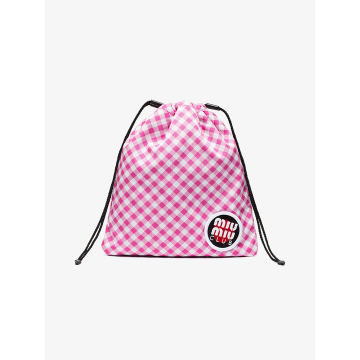 pink club patch gingham pouch