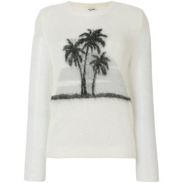 palm tree print sweater