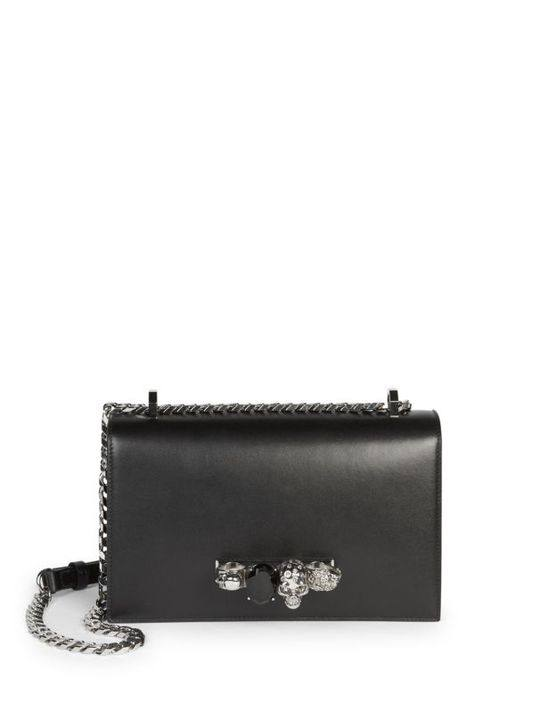 Small Leather Knuckle Embellished Shoulder Bag展示图