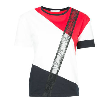 colour blocked lace T-shirt