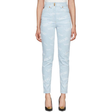 Blue Logo Stamp High-Waisted Jeans
