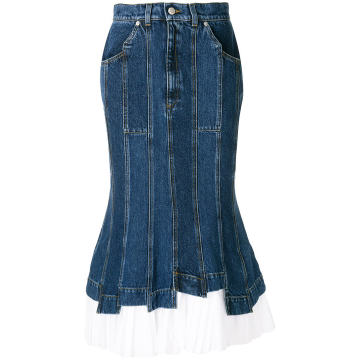 pleated hem denim skirt