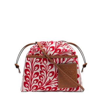 Multicoloured printed canvas pouch bag