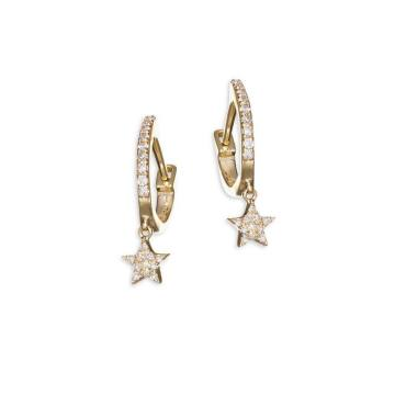 14K Yellow Gold Star Drop Diamond Huggie Hoops