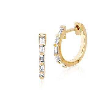Baguette Diamond Huggie Hoops