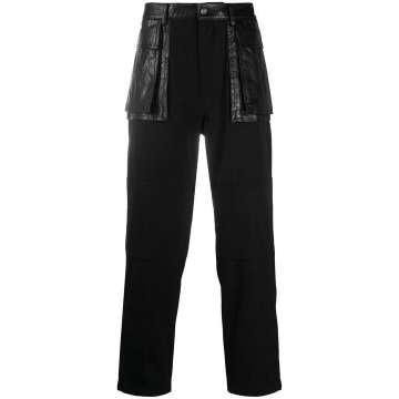 faux leather-panelled trousers