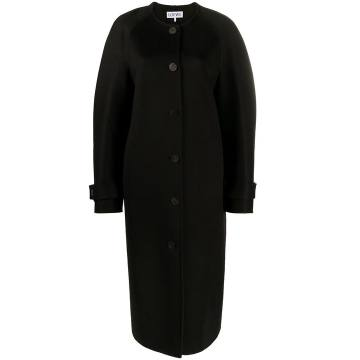 cape-detail collarless wool coat