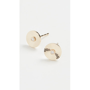 14k Diamond Fluted Disc Studs