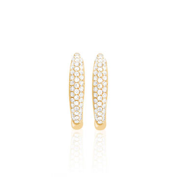Mini 14k Gold Diamond Dome Huggie Earrings