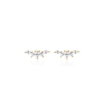 14k Gold Marquise Diamond Fan Earrings