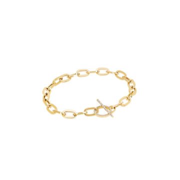Jumbo 14k Gold Diamond Toggle Chain Bracelet
