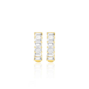 14k Gold Diamond Baguette Huggie Earrings